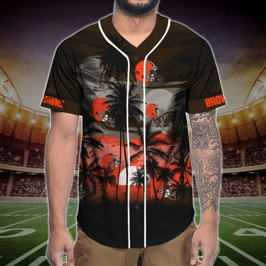 Cleveland Browns Tropical Baseball Jersey3