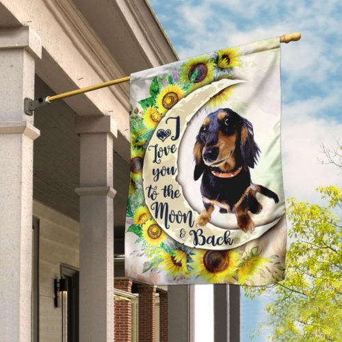 Dachshund I Love You To The Moon And Back Flag 1