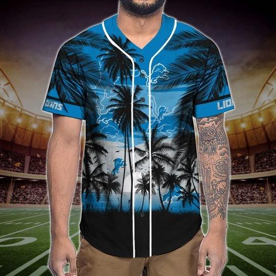 Detroit Lions Tropical Baseball Jersey3