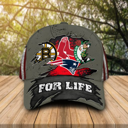For Life Boston Celtics New England Patriots Boston Bruins Boston Red Sox cap hat 1