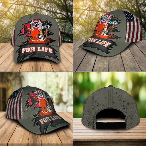 For life Ohio State Buckeys Cleveland Cavaliers Cleveland Indians Cleveland Browns cap hat 5
