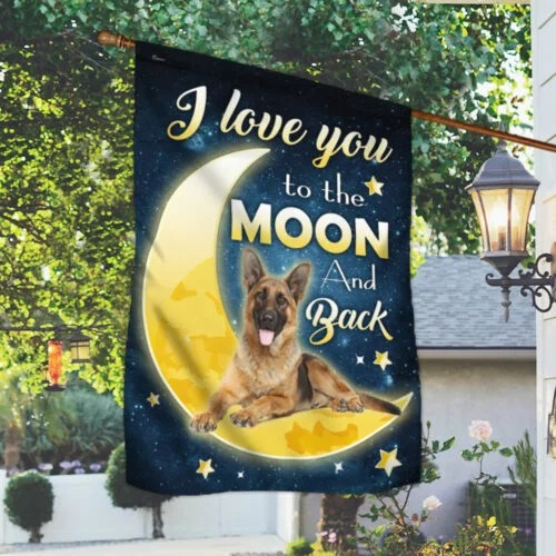 German Shepherd I Love You To The Moon And Back Flag 3