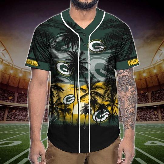 Green Bay Packers Tropical Baseball Jersey3