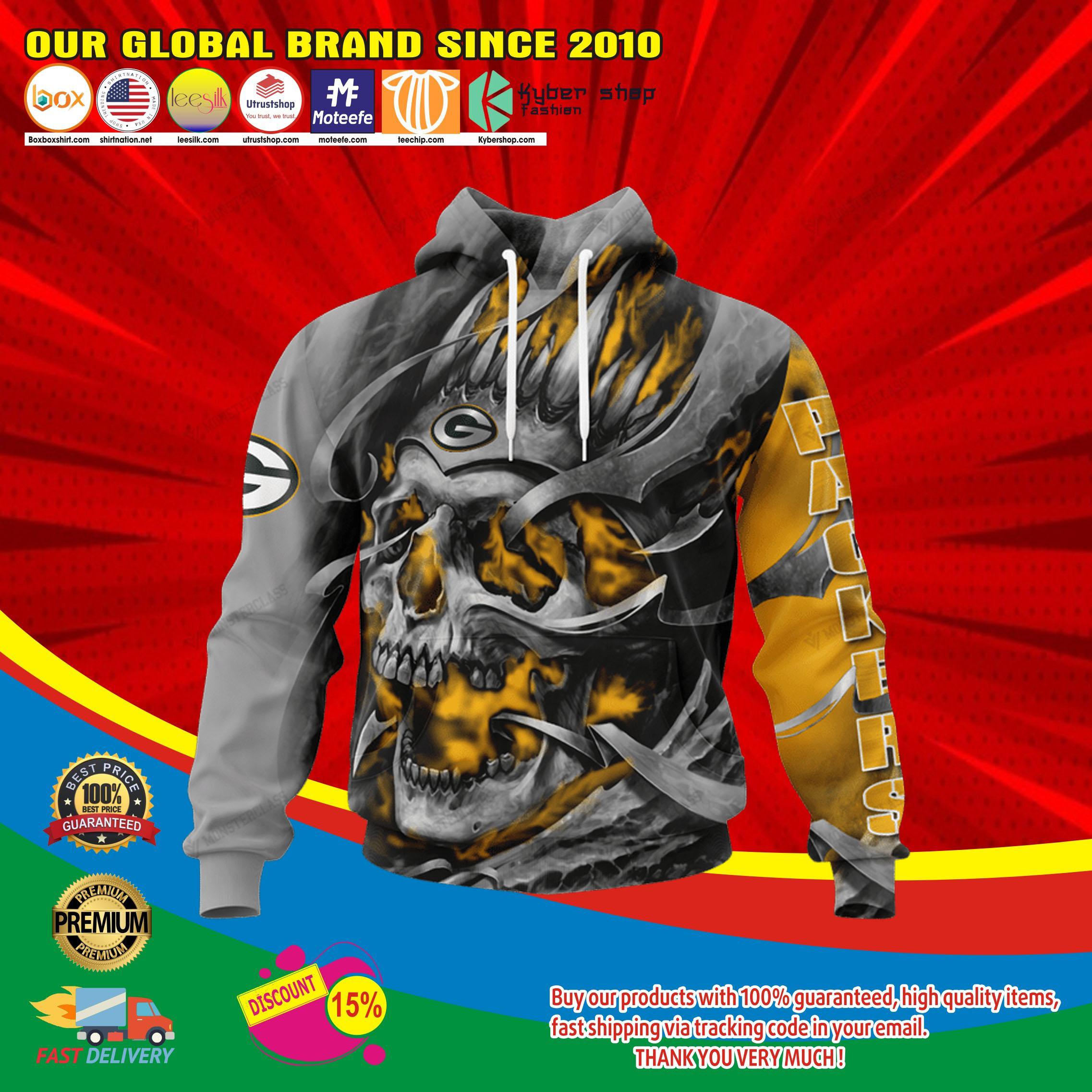 Green bay packers skull jersey hoodie4