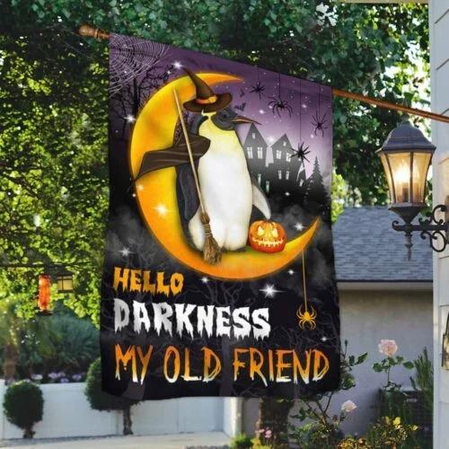 Halloween Penguin witch Moon pumpkin Hello Darkness My Old Friend flag 3