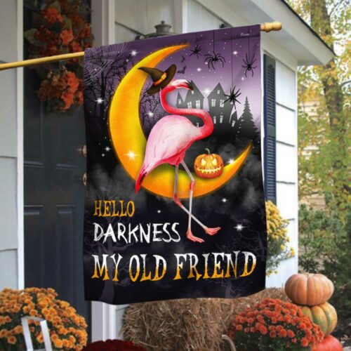 Halloween pumpkin Flamingo Moon Hello Darkness My Old Friend flag 1