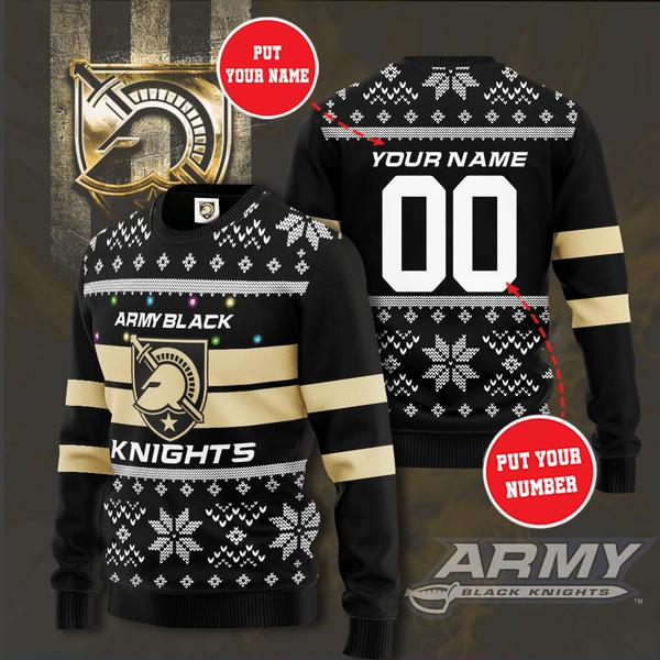 Army Black Knights Custom Name Christmas Sweater
