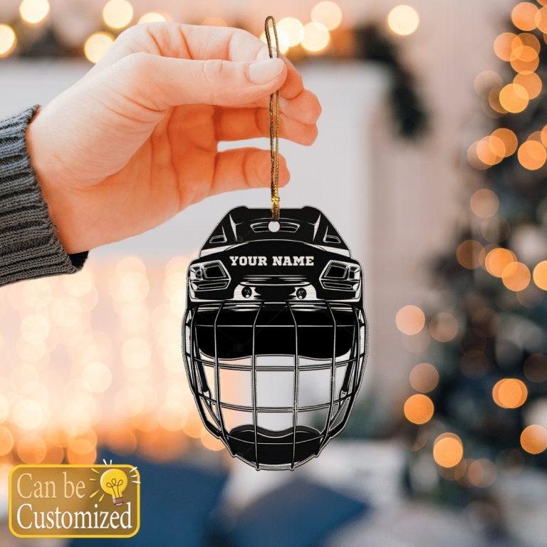 Hockey Helmet custom personalized name hanging ornament 1