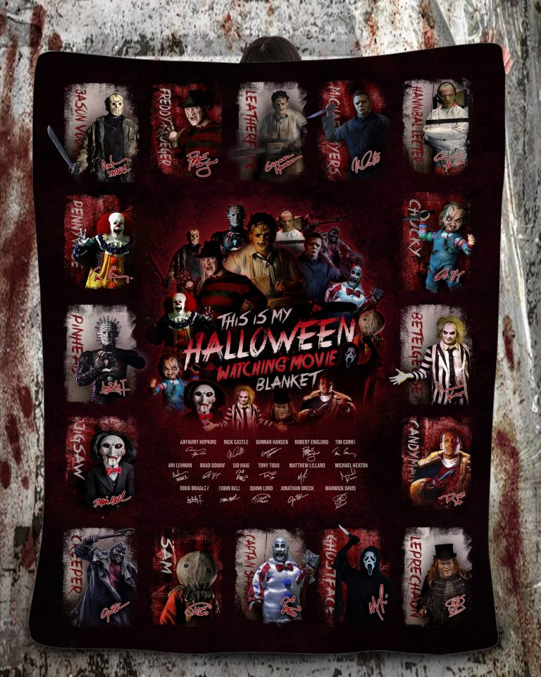 Horror movie characters This is my halloween watching movie blanket 1
