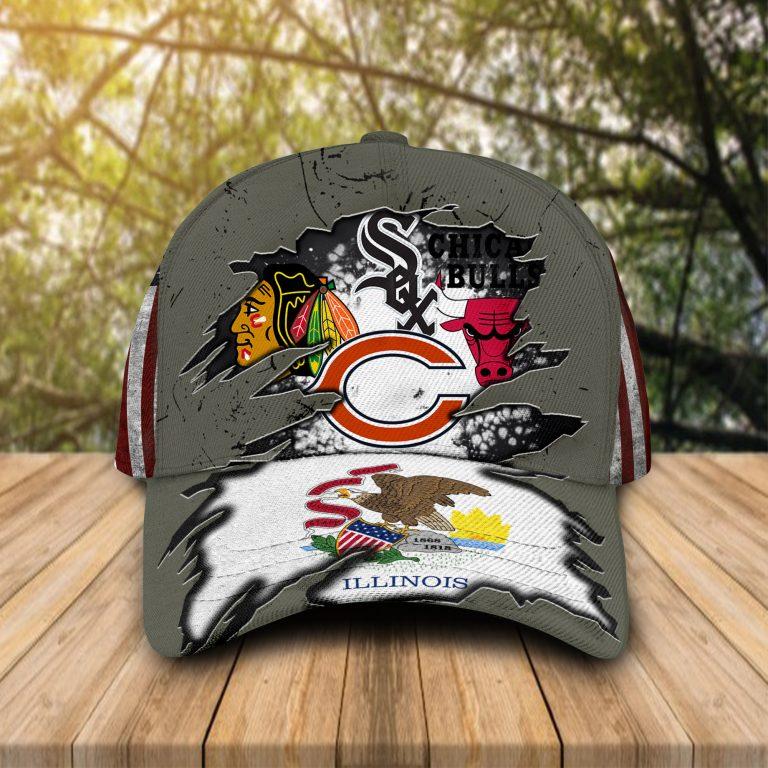 Illinois fllag Chicago Bulls Chiacago White Sox Chicago bears Chicago blackhawks cap hat 1