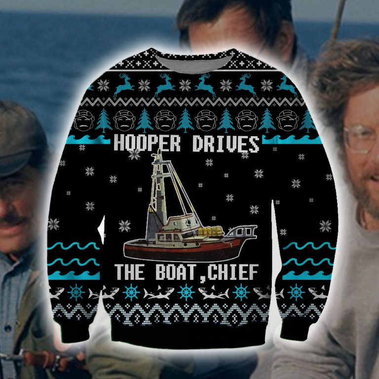 Jaws Movie Hooper drives the boat chief ugly sweater sweatshirt 1