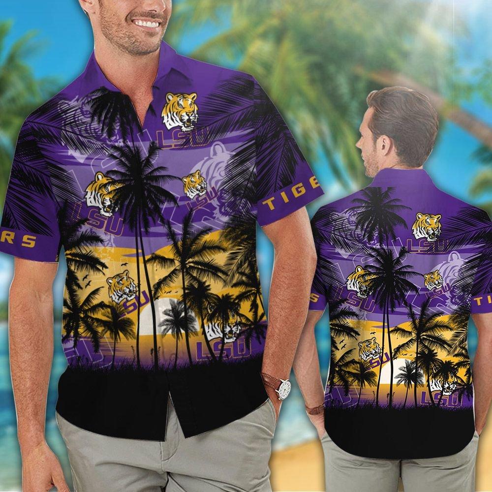 LSU Tigers and Lady Tigers Hawaiian Tropical shirt short