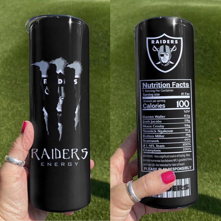Las Vegas Raiders Monster Energy Skinny Tumbler