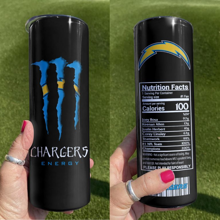 Los Angeles Chargers Monster Energy Skinny Tumbler