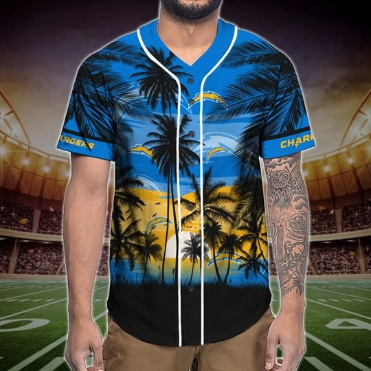 Los Angeles Chargers Tropical Baseball Jersey3