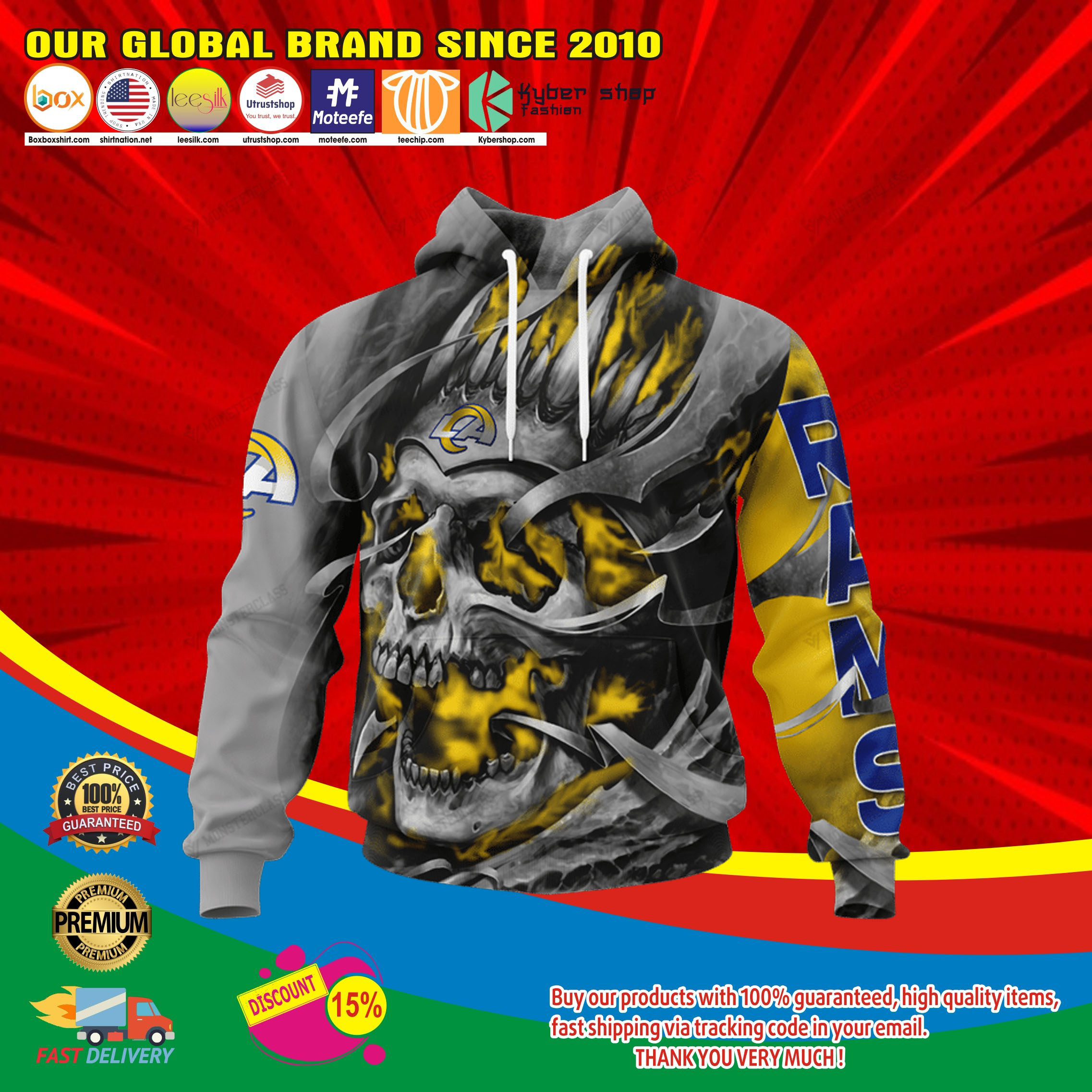 Los angeles rams skull jersey hoodie4