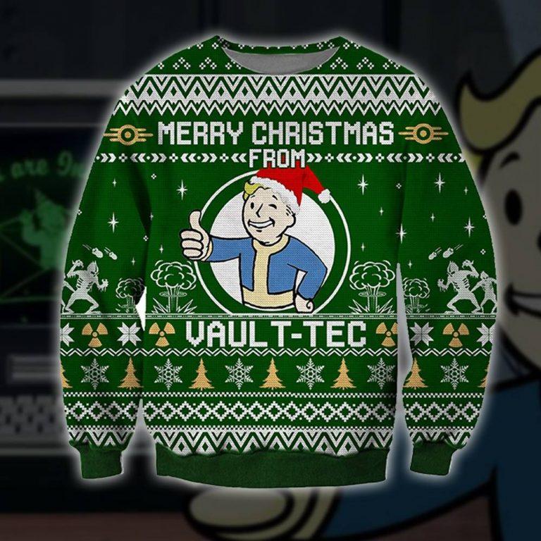Merry Christmas from Vault Boy ugly sweater sweatshirt 1