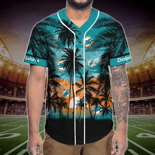 Miami Dolphins Tropical Baseball Jersey3