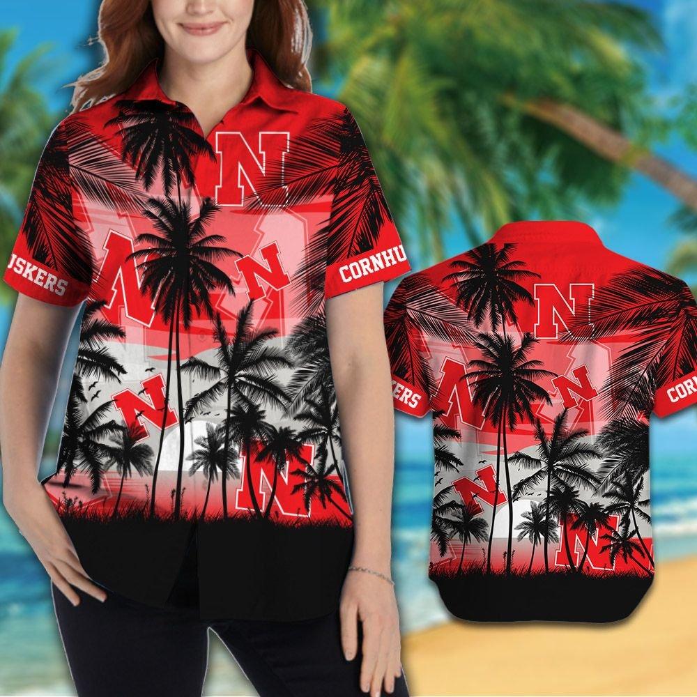 Nebraska Cornhuskers football Hawaiian Tropical shirt short 1