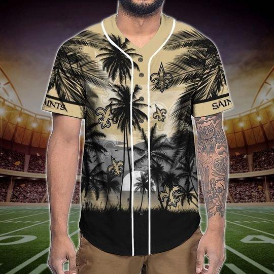 New Orleans Saints Tropical Baseball Jersey3