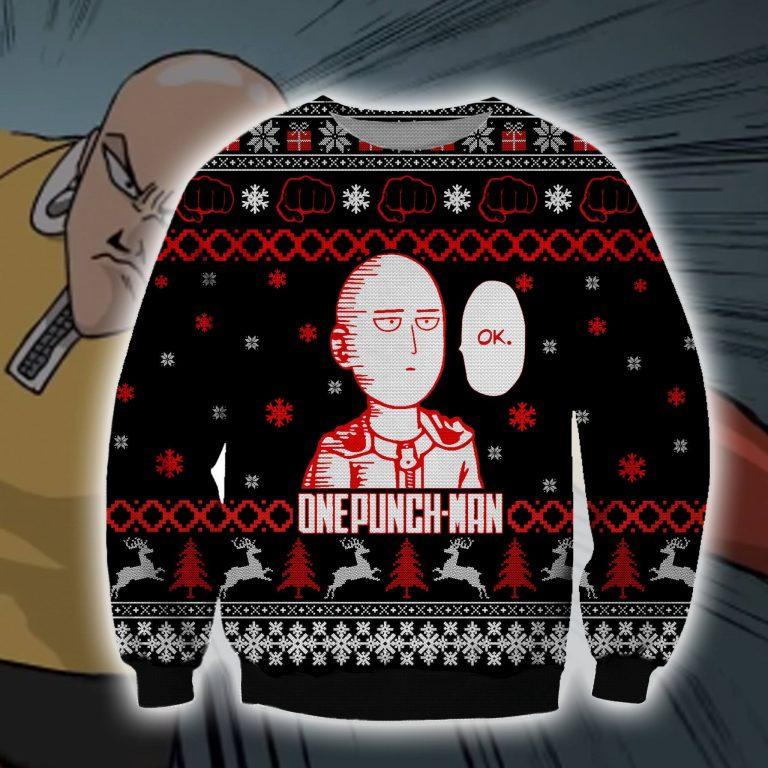 Ok Onepunch Man ugly christmas sweater sweatshirt 1