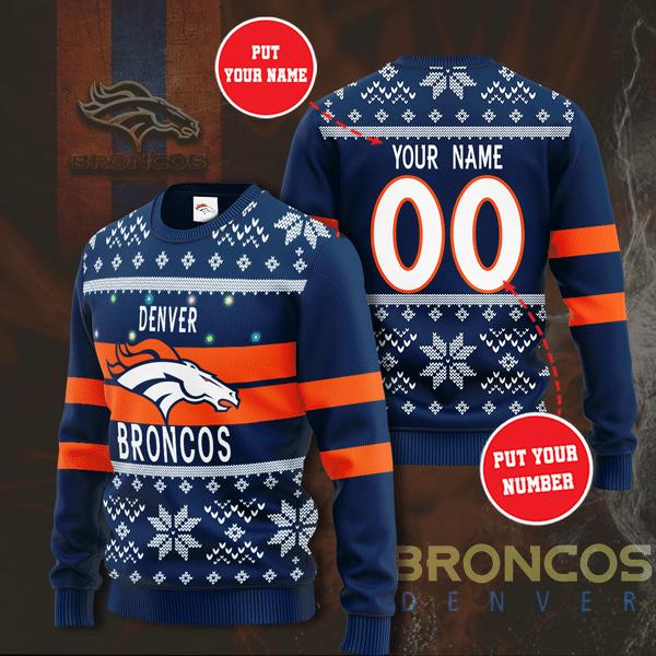 Personalized Denver broncos custom christmas sweater