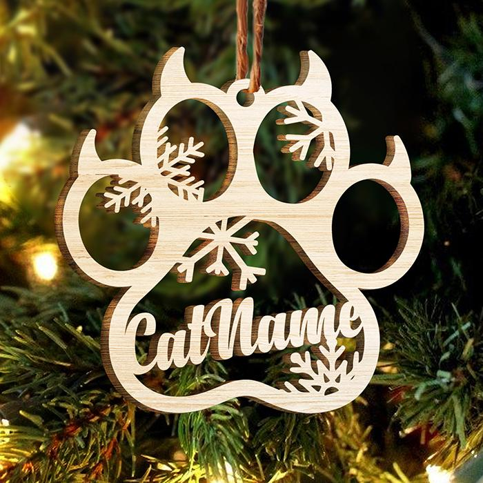 Personalized Dog Cat and Angel Wings wood paw ornament 5