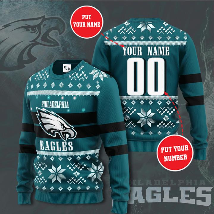 Personalized Philadelphia Eagles custom ugly Christmas Sweater