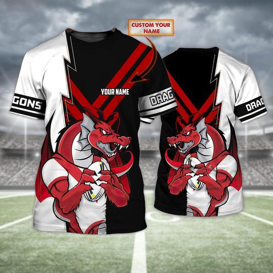 Personalized St George Illawarra Dragons custom 3d t shirt 1