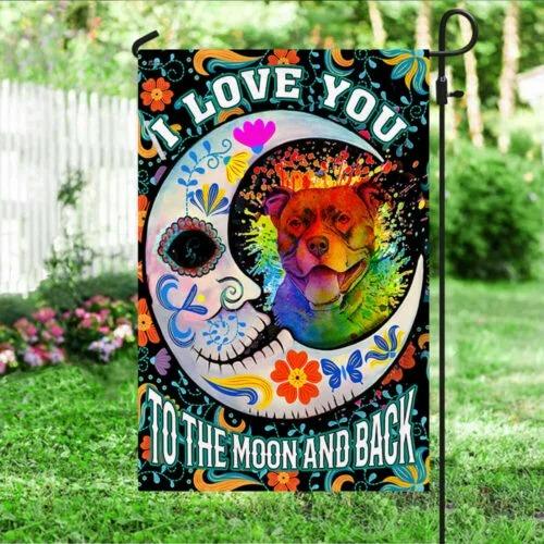 Pitbull sugar skull I Love You To The Moon And Back flag 6