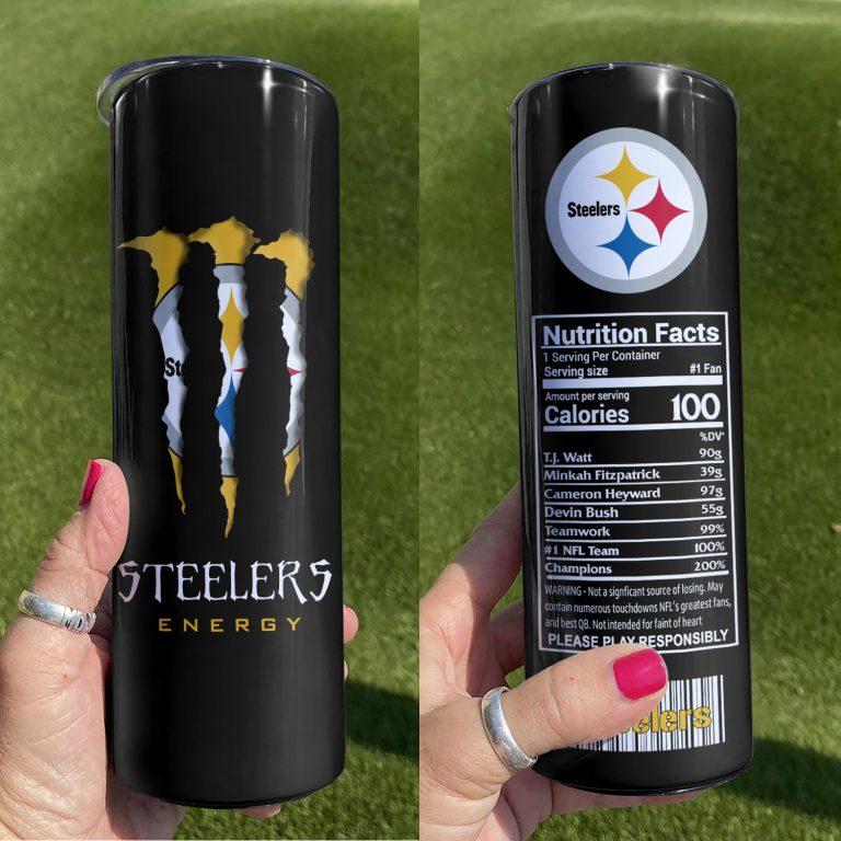 Pittsburgh Steelers Monster Energy Skinny Tumbler 1