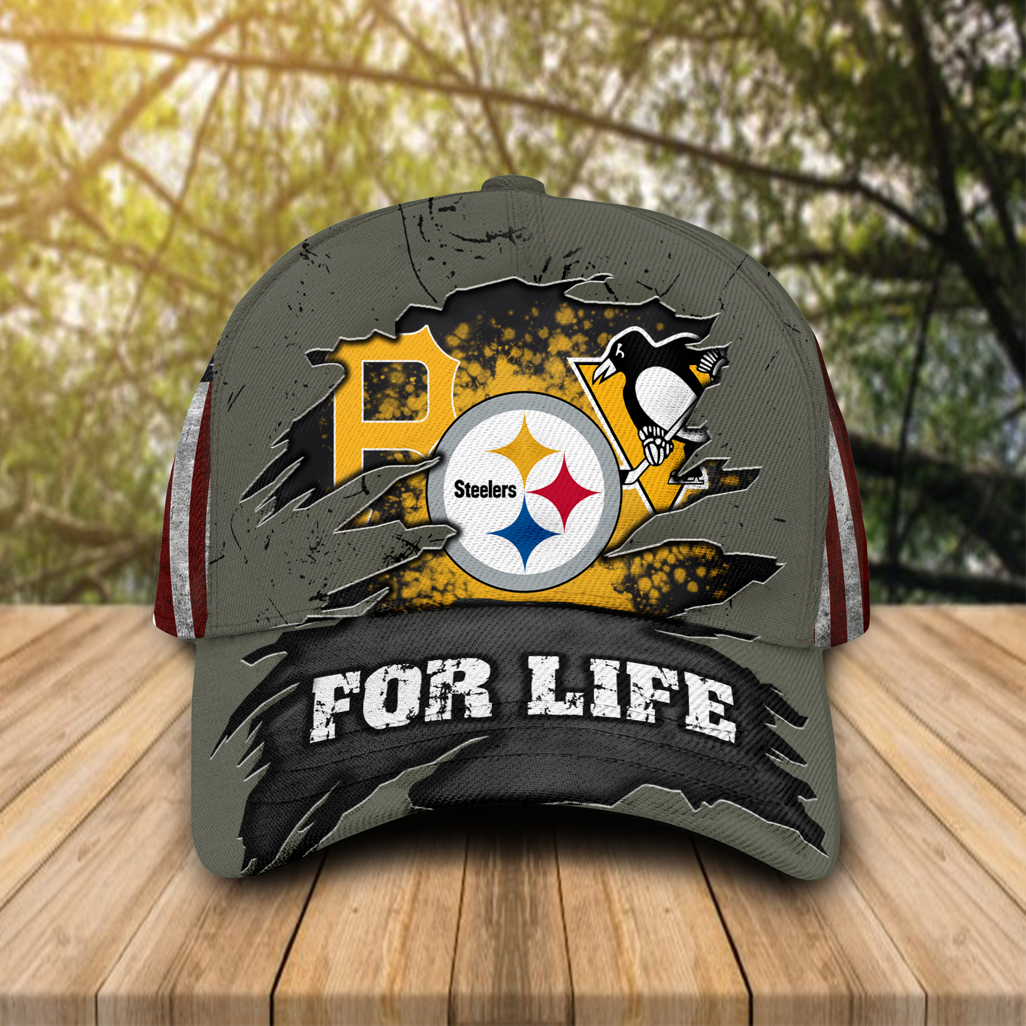 Pittsburgh Steelers Pittsburgh Pirates Pittsburgh Penguins for life cap hat 1