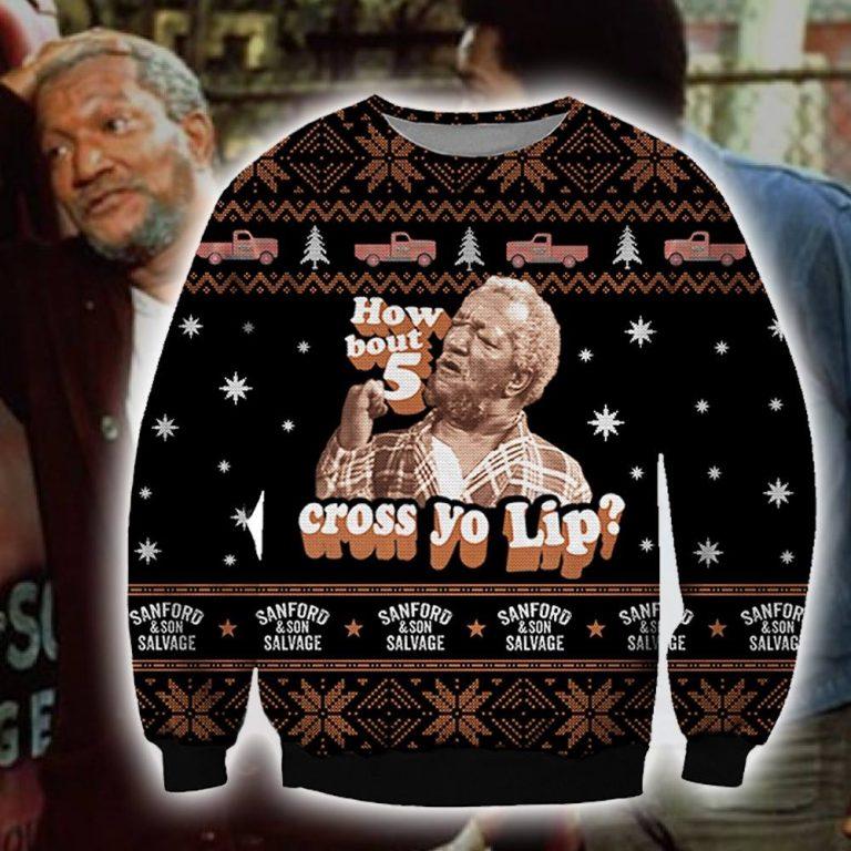 Redd Foxx how bout 5 cross yo lip ugly sweater sweatshirt 1