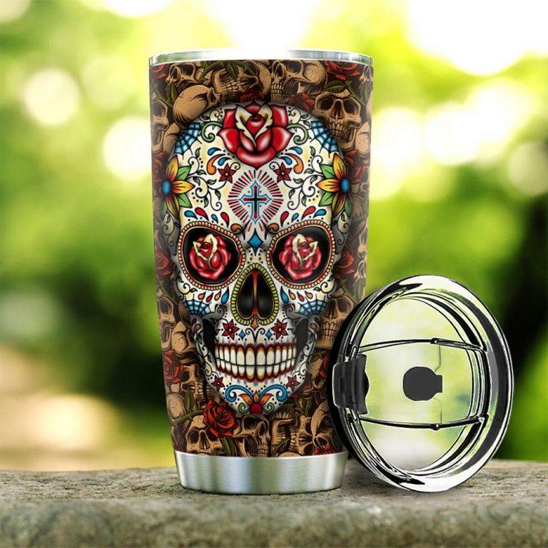 Rose Sugar Skull Stainless Steel custom personalized name tumbler 1