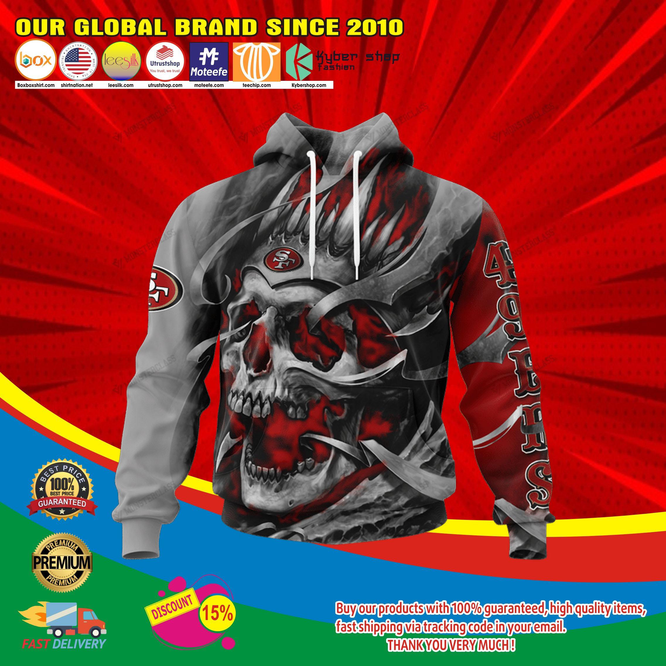 San francisco 49ers skull jersey hoodie4