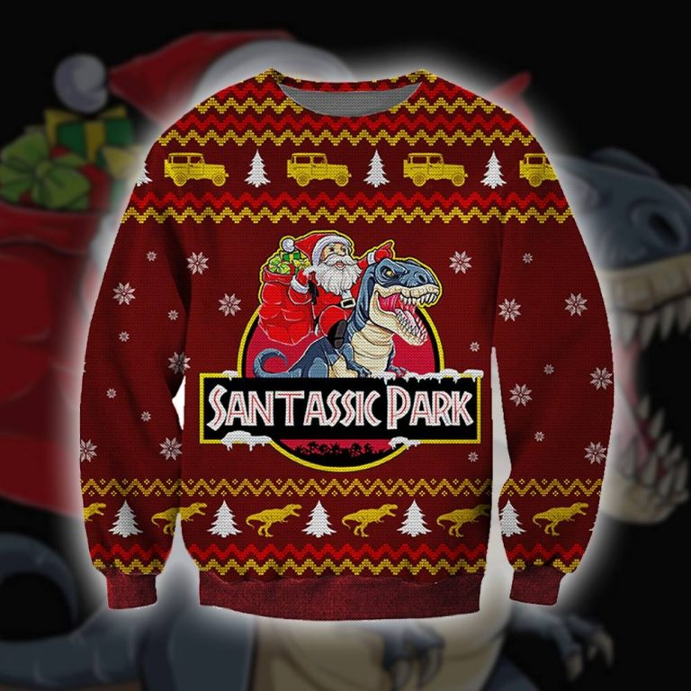 Santassic Jurassic park ugly sweater sweatshirt 1