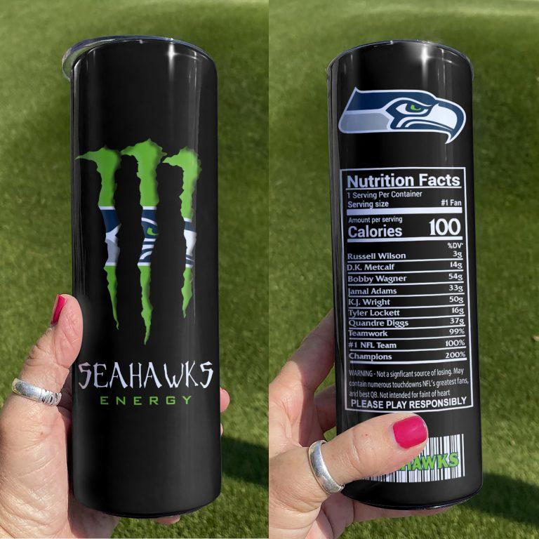 Seattle Seahawks Monster Energy Skinny Tumbler 1