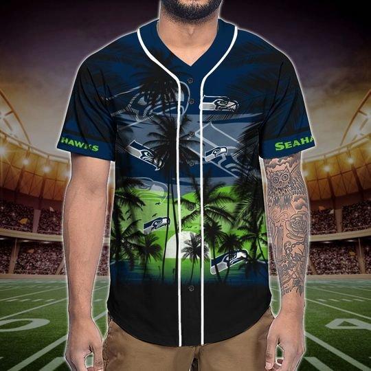 Seattle Seahawks Tropical Baseball Jersey3