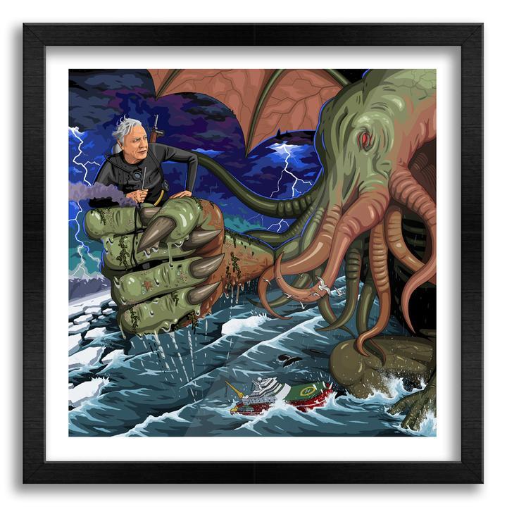 Sir David Vs Cthulhu wall art