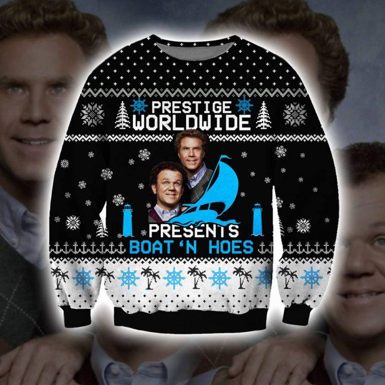 Step brothers Prestige Worldwide Presents Boats N Hoes ugly sweater sweatshirt 1