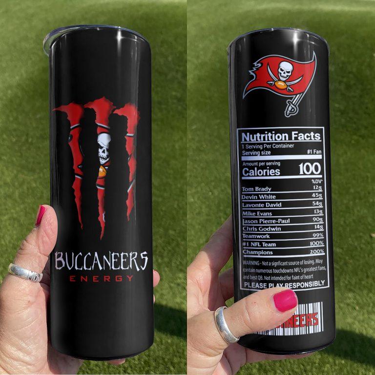 Tampa Bay Buccaneers Monster Energy Skinny Tumbler 1