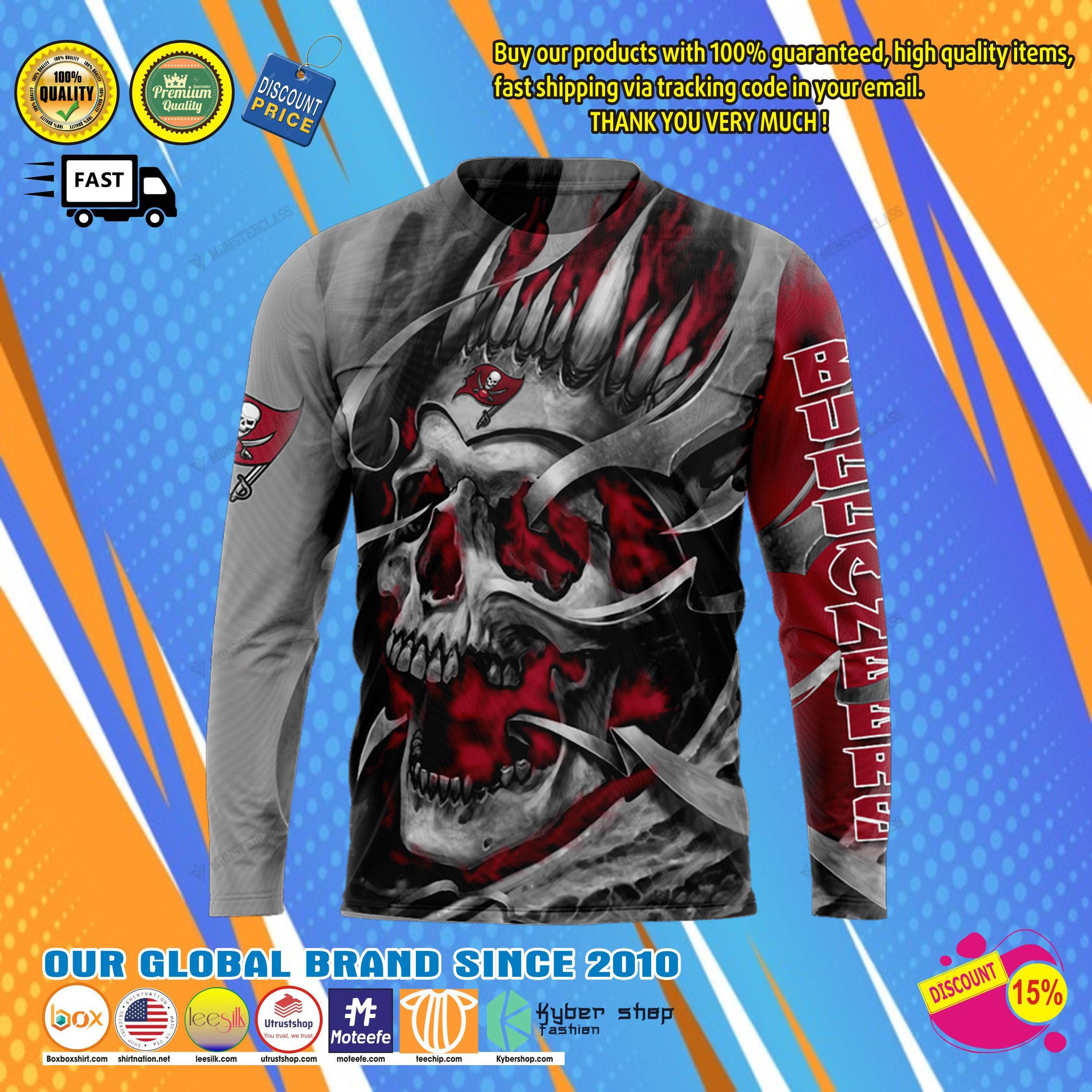 Tampa bay buccaneers skull jersey hoodie8
