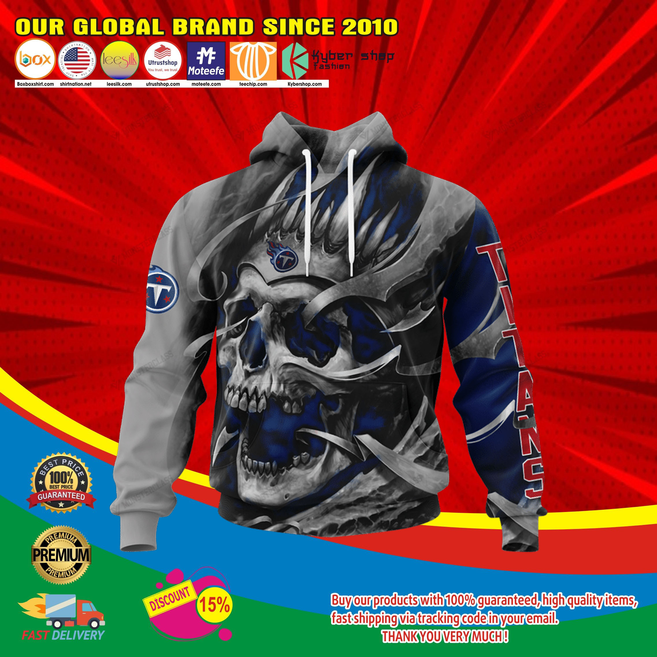 Tennessee titans skull jersey hoodie4