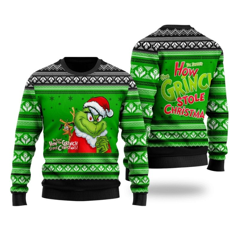 The Grinch Dr Seuss how the Grinch stole Christmas ugly sweater 1