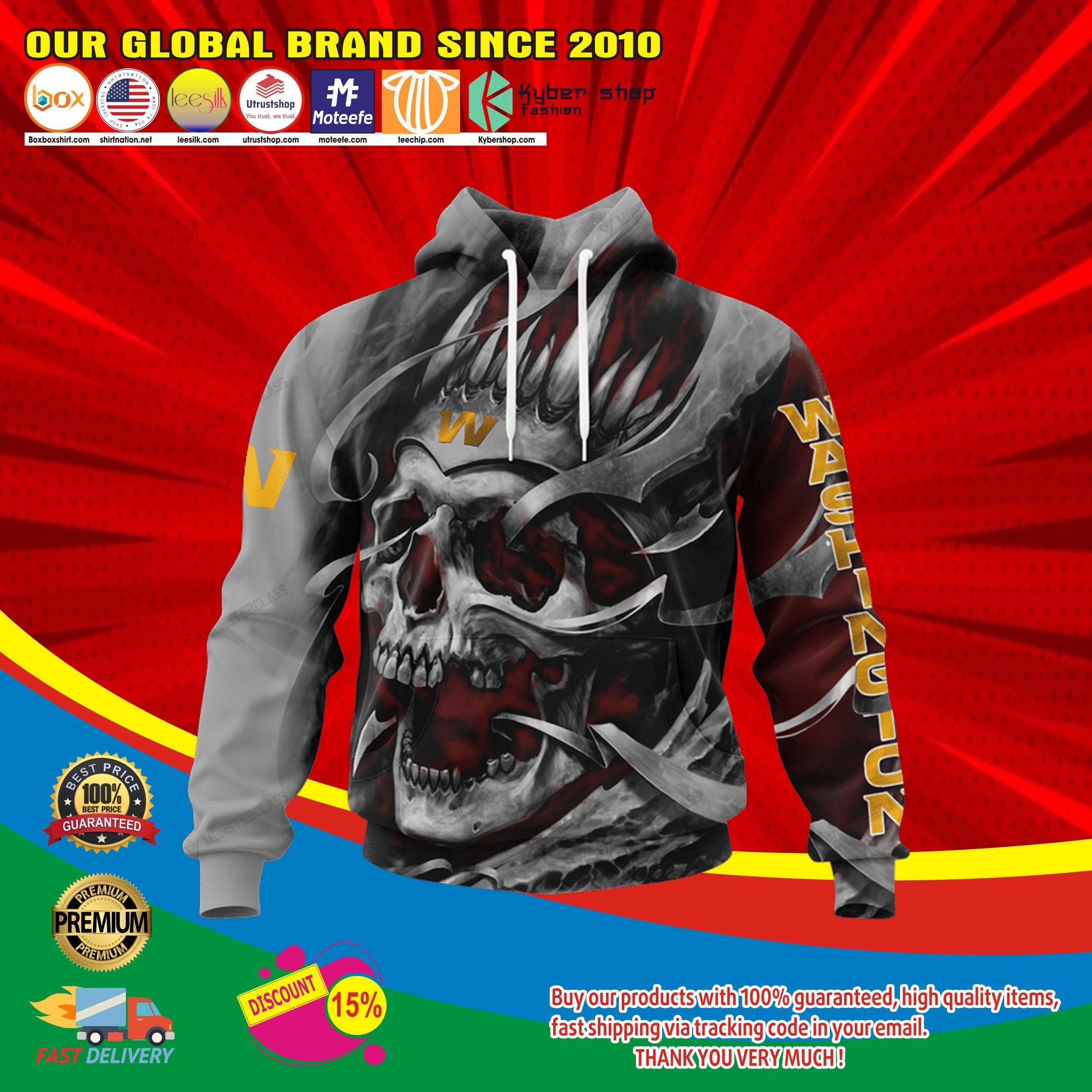 Washington football team skull jersey hoodie4