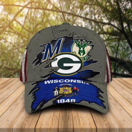 Wisconsin flag Green Bay Packers Milwaukee Brewers Milwaukee Bucks cap hat 1